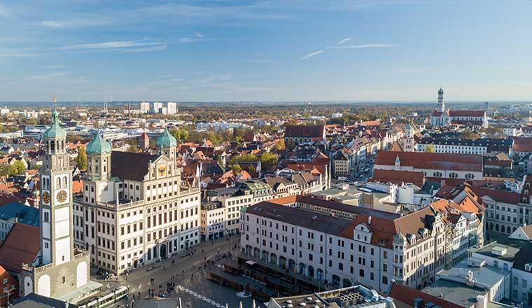 Blick auf Augsburger Altstadt - Karriere bei der Hessingpark-Clinic in Augsburg